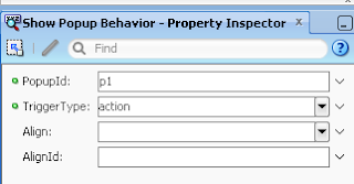 Set popup id in showPopupBehavior that you want to open