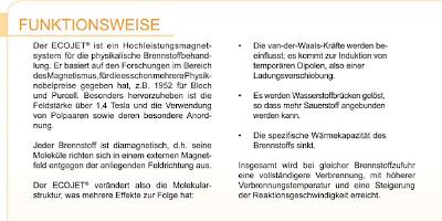 Angebliche Funktionsweise des Ecojet-Systems der SCS Schneider GmbH
