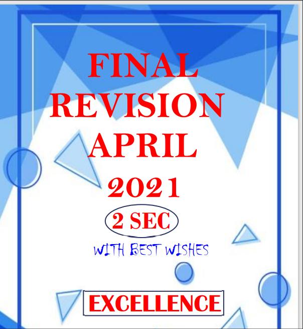 اقوى مراجعة انجليزى شهر ابريل اختيارى (قواعد - كلمات) على الوحدات 9-10 للصف الثانى الثانوى الترم الثانى 2021  اهداء Excellence