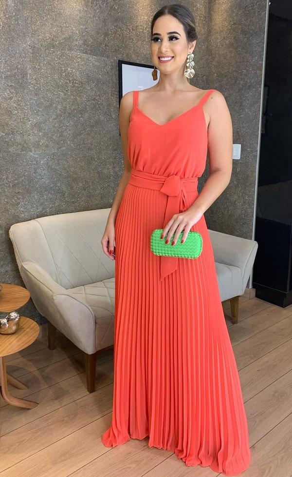 vestido de festa longo laranja plissado para casamento dia