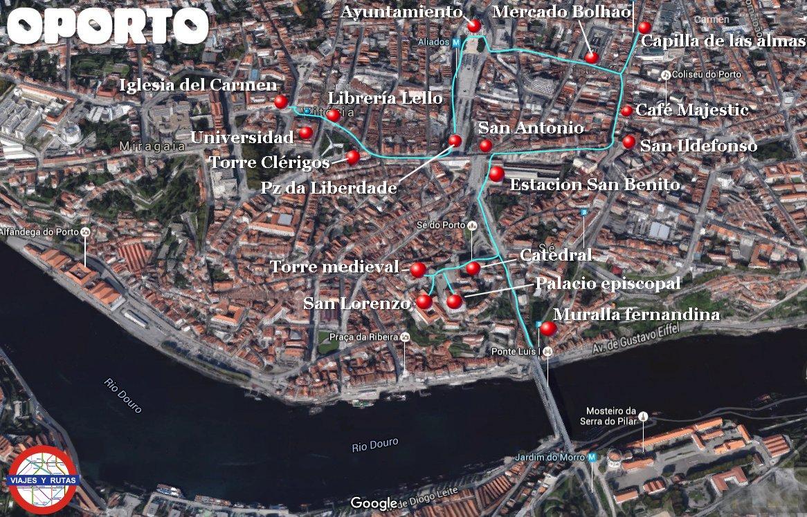 Mapa zona alta de Oporto