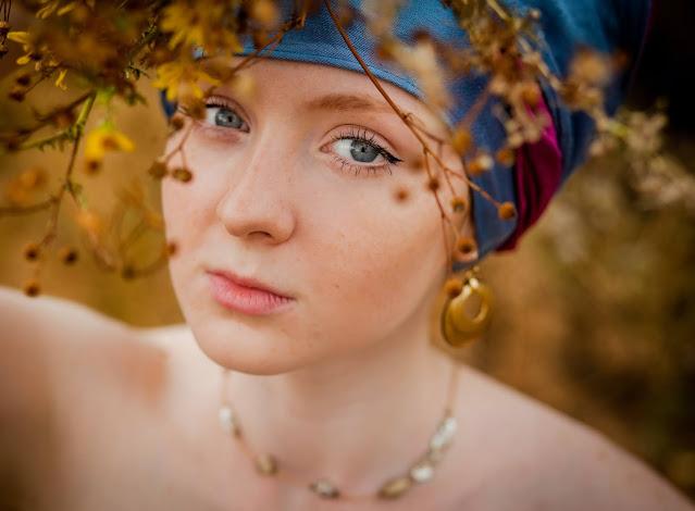 Pretty woman wearing a turban.
