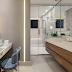 Banheiro contemporâneo e segmentado com penteadeira, sauna e banheira!