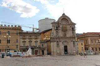 The church of Anime Sante, the dome of which collapsed, undergoing reconstruction in 2011