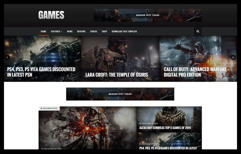 Sora Games Professional Gaming Blogger Template Free Download