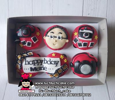 Cupcake Tema Kamera Fondant 2D