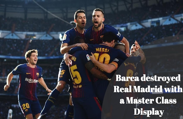 Barca Players Celebrating scoring against Real Madrid in 3-0 victory at the Santiago Bernebeu