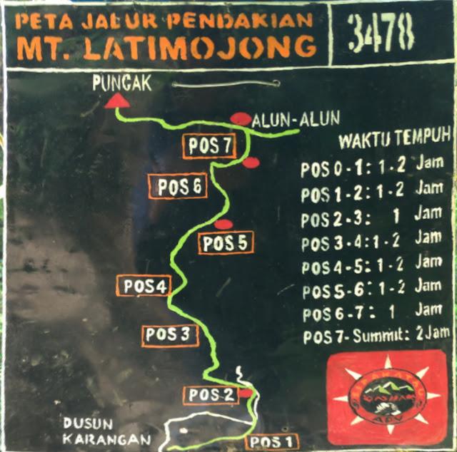 Peta Pendakian Gunung Latimojong via Dusun Karangan