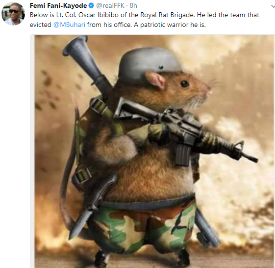See FFK's reaction to Rat Invasion of Buhari's office