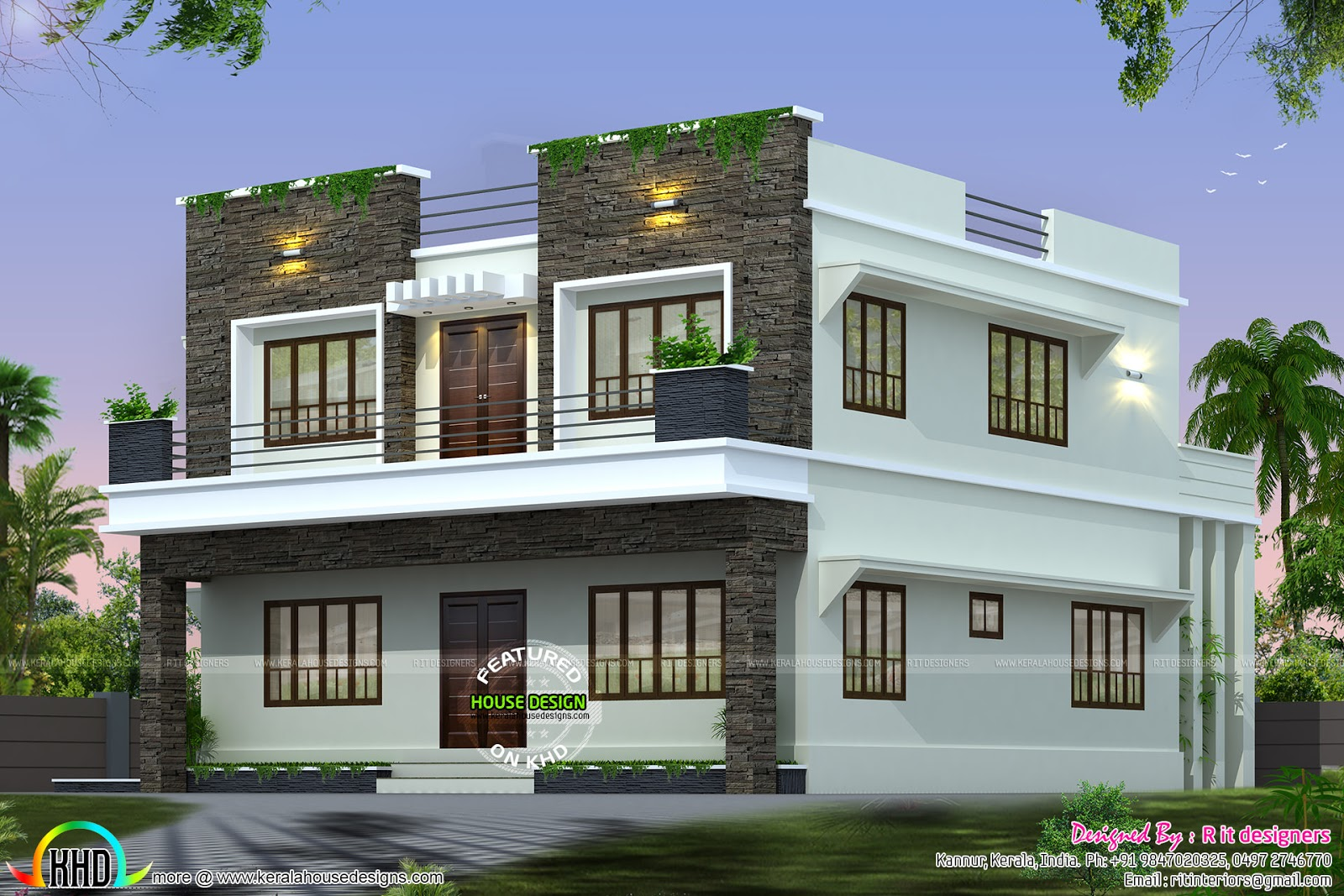 Front side and back view of box model home kerala home for Side view house plans
