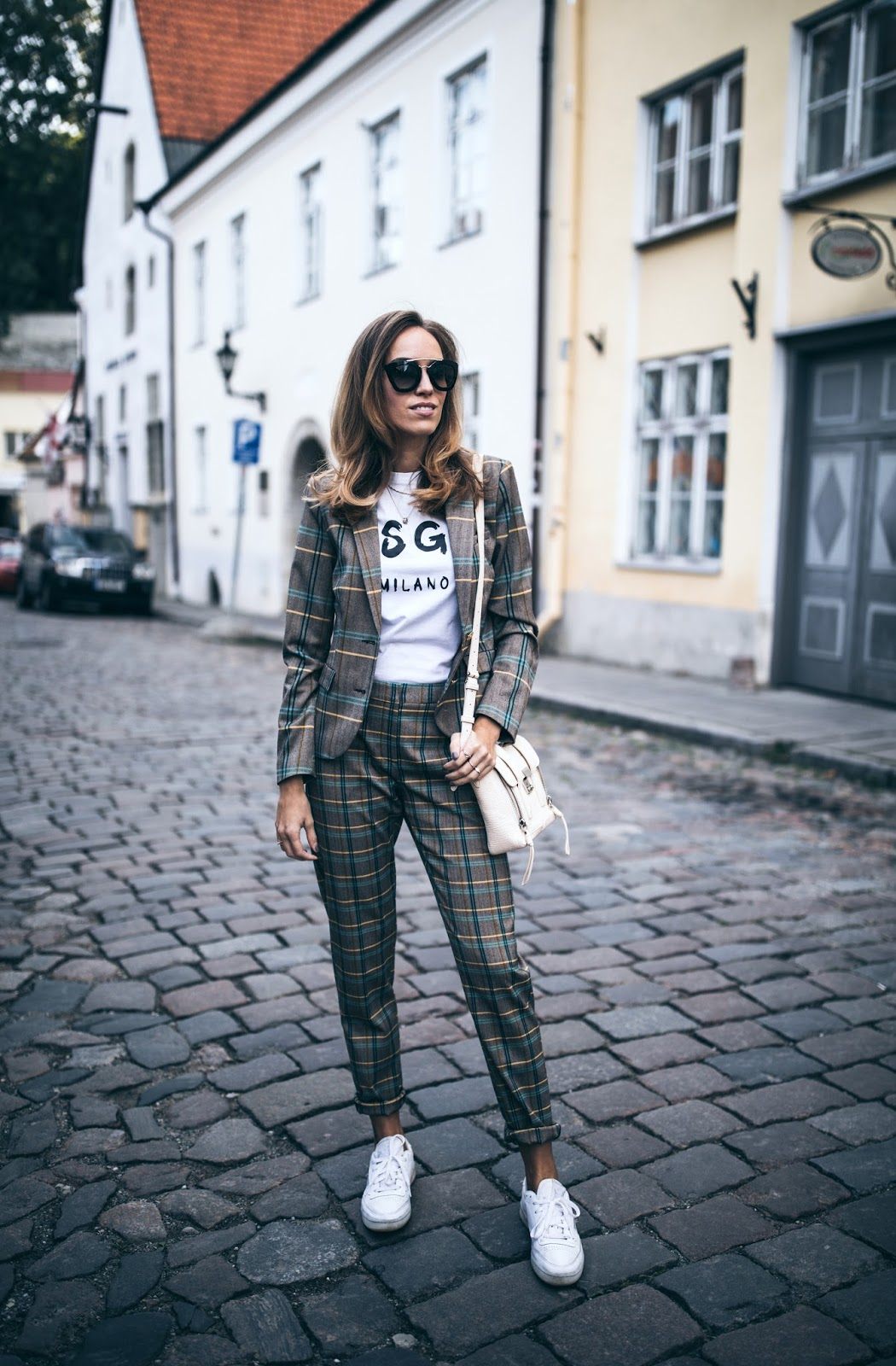 checked blazer outfit fall
