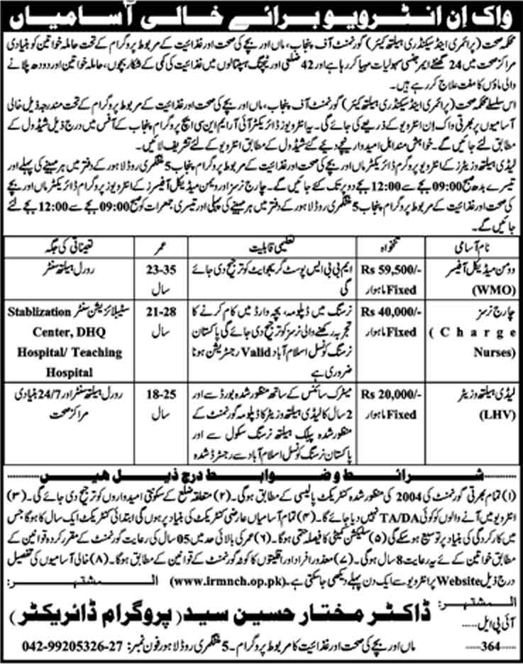 Jobs In Primary And Secondary Healthcare Department Punjab