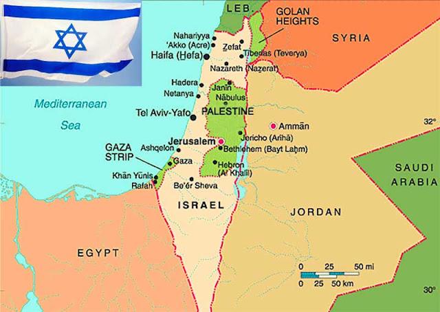 Gambar Peta Israel dan Palestina