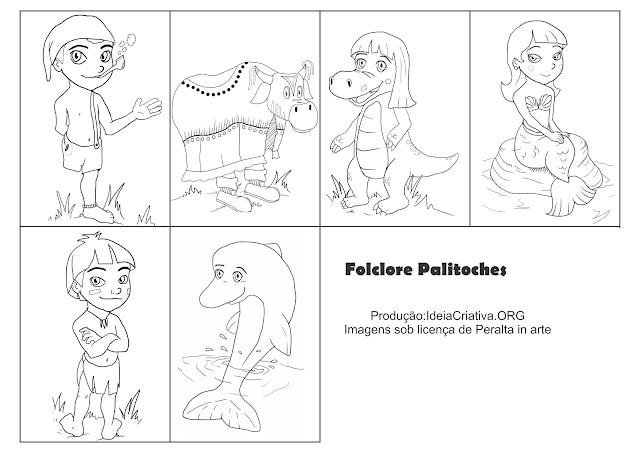 Palitoches Contação de Histórias Personagens do Folclore Brasileiros