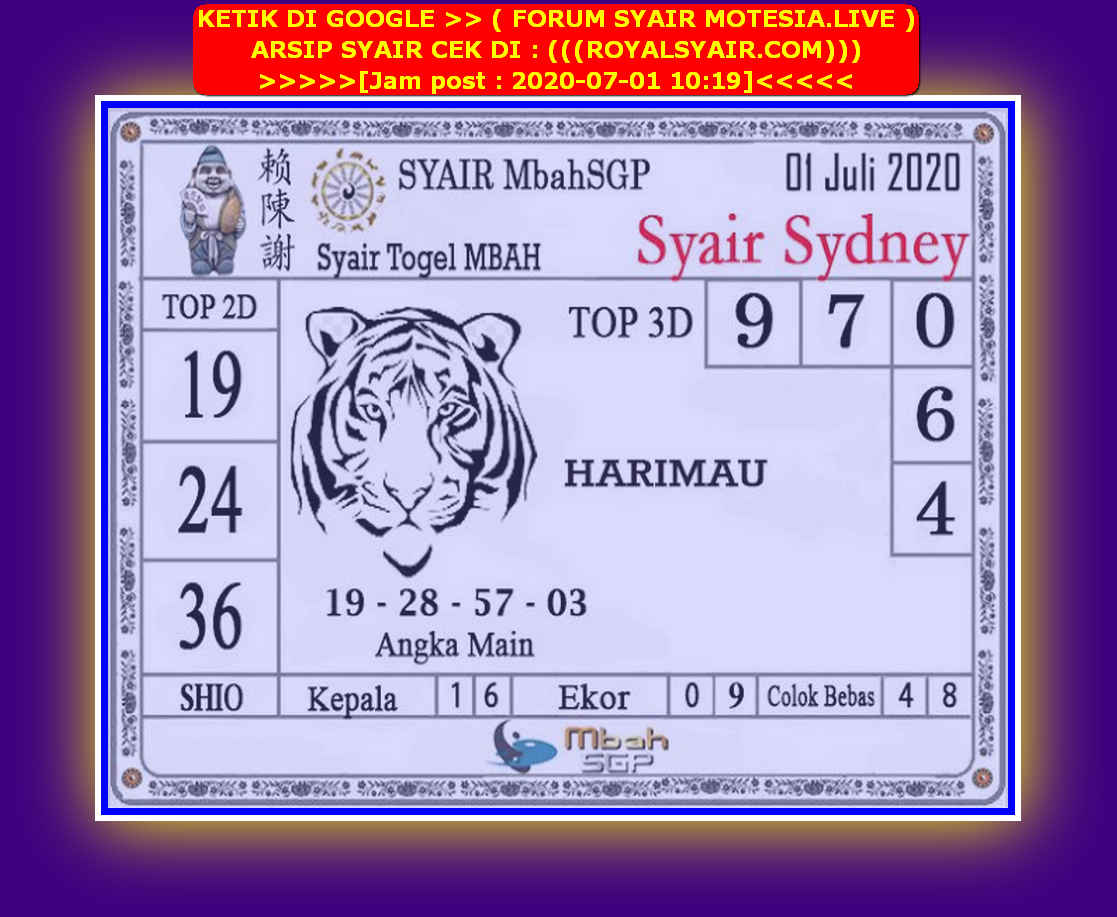Kode syair Sydney Rabu 1 Juli 2020 198