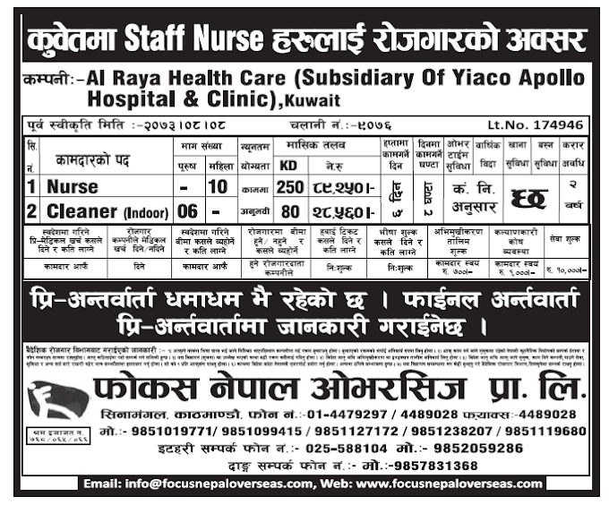 Jobs in Kuwait for Nepali Staff Nurses, Salary Up to Rs 89,250