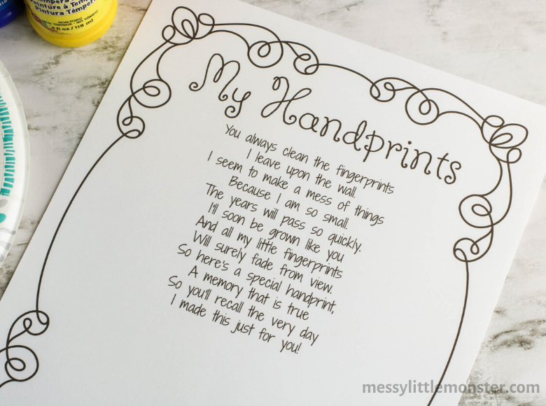 printable handprint poem