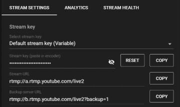 Stream Key & Stream URL