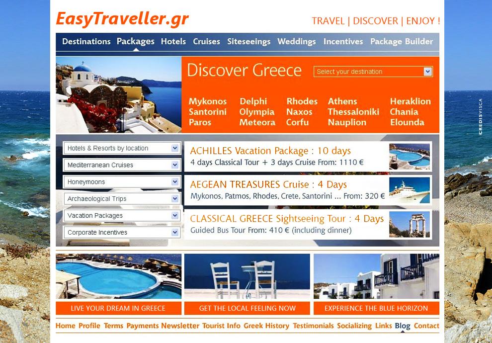 Δημιουργικός Σχεδιασμός, Branding, Graphics, Προγραμματισμός, SEO, Online Booking και Υλοποίηση Portal Website για το Τουριστικό Πρακτορείο Easy Traveller