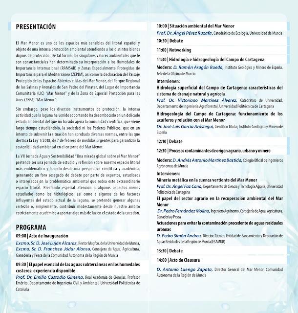 VII Jornada Agua y Sostenibilidad: Una mirada global sobre el Mar Menor
