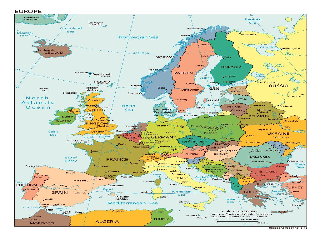 map of europe with capitals and major cities