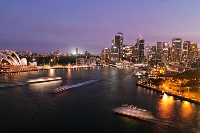 Stunning aerial night shot of Sydney Harbour