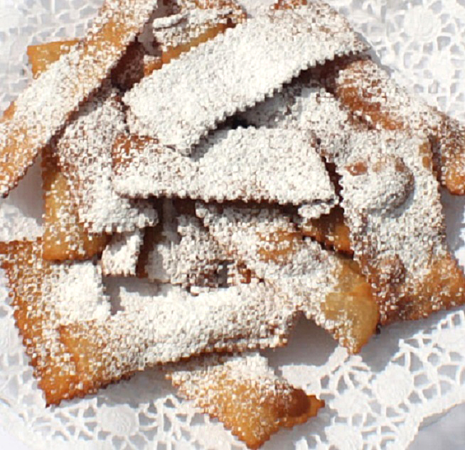 These are Italian fried cookies called bow ties