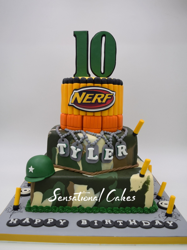 The Sensational Cakes CAMOUFLAGE 3 TIER NERF GUN THEME BIRTHDAY
