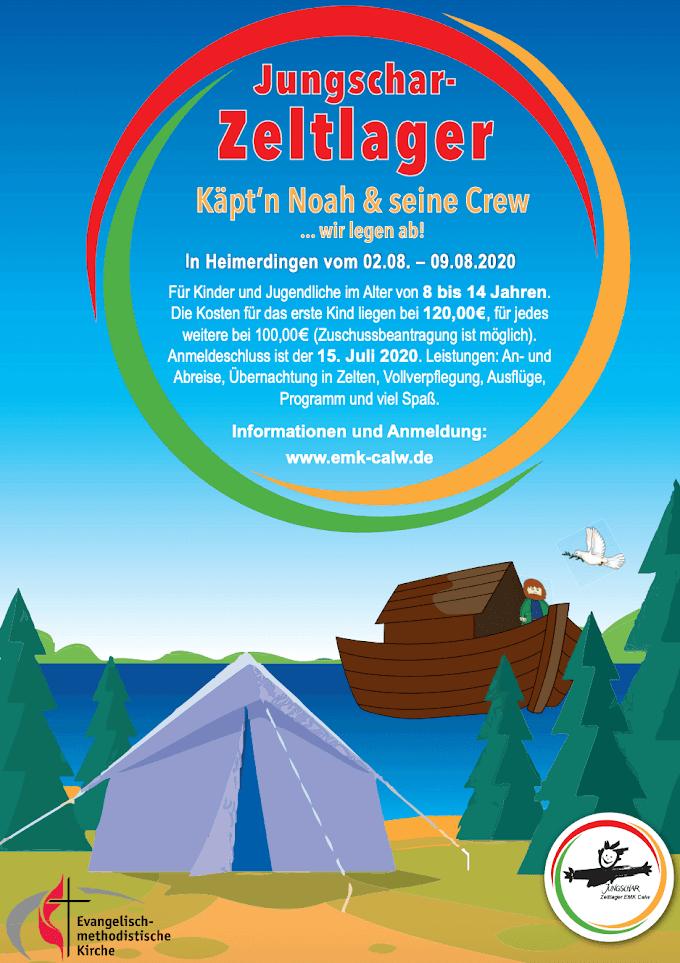 Anmeldung EmK Zeltlager 2020 | Käpt'n Noah & seine Crew wir legen ab!