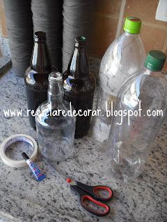 reciclagem de garrafa pet, decoração com garrafas,  reciclagem de garrafa de vidro, reciclar e decorar, garrafas altas, Fabiana Tardochi, blog Reciclar e Decorar