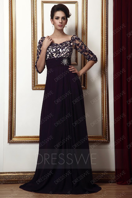 Lace Empire Waist Off-the-Shoulder Beading Mother of the Bride Dress