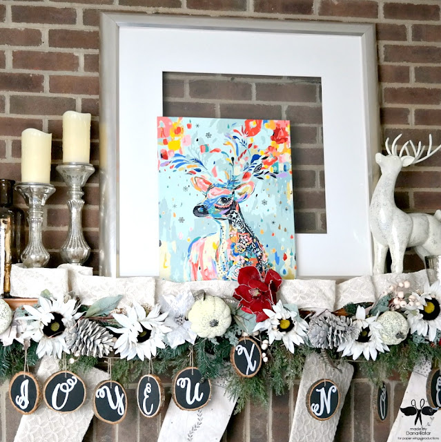 Paint-by-Number Canvas Christmas Mantle Decor by Dana Tatar for Paper Wings Productions