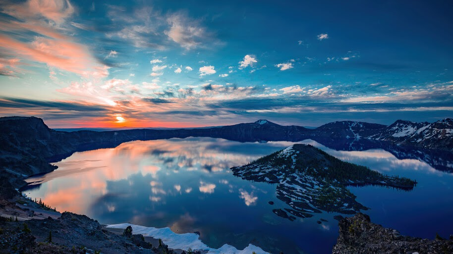 Crater, Lake, Oregon, Sunset, Reflection, Landscape, Scenery, 4K, #6.984