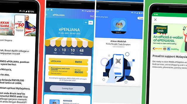 Cara Daftar e-Wallet Untuk Tebus RM50 Program ePENJANA