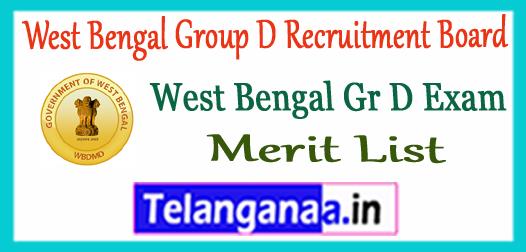 WBGDRB West Bengal Group D Recruitment Board Final Merit List 2017