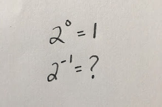 What will 2 to the -1 be?