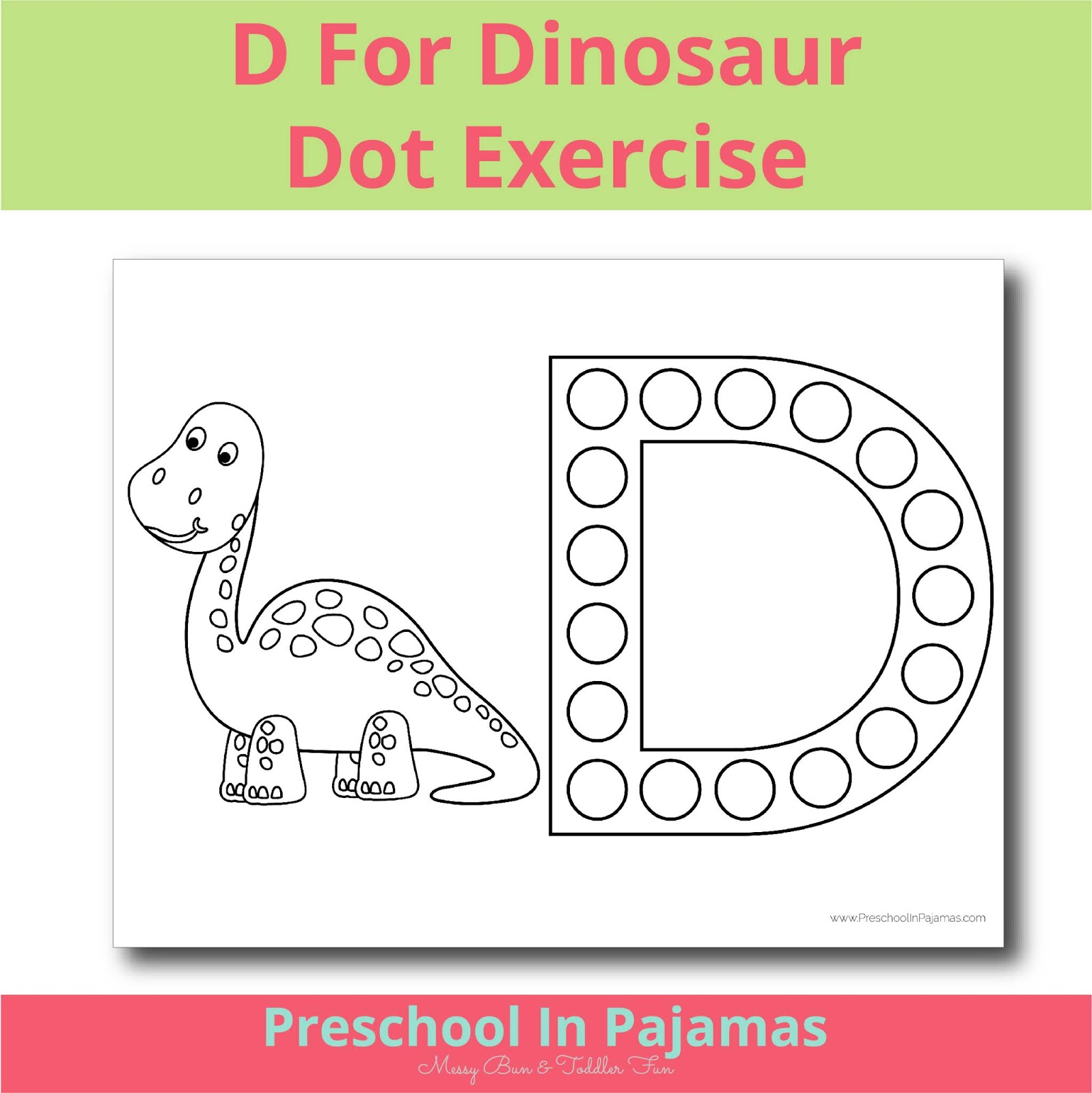 Free D Is For Dinosaur Dot Exercise Printable Worksheet