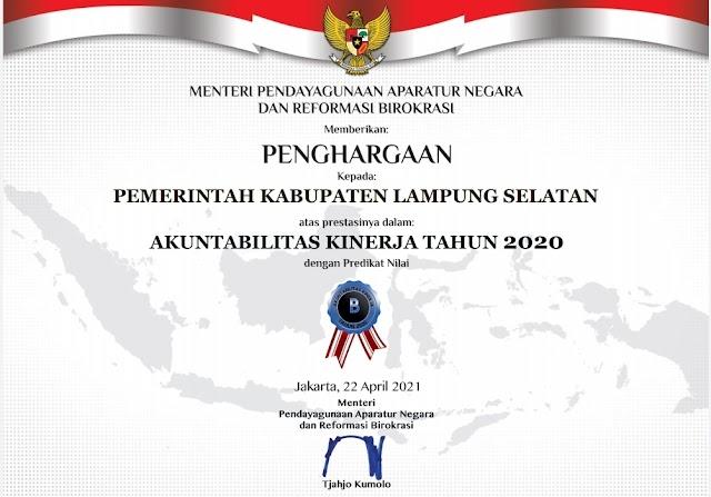Penghargaan AKIP 2020, Pemkab Lampung Selatan Pertahankan Predikat B