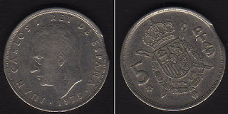 Moneda de un duro, cinco pesetas (5) de Juan Carlos I