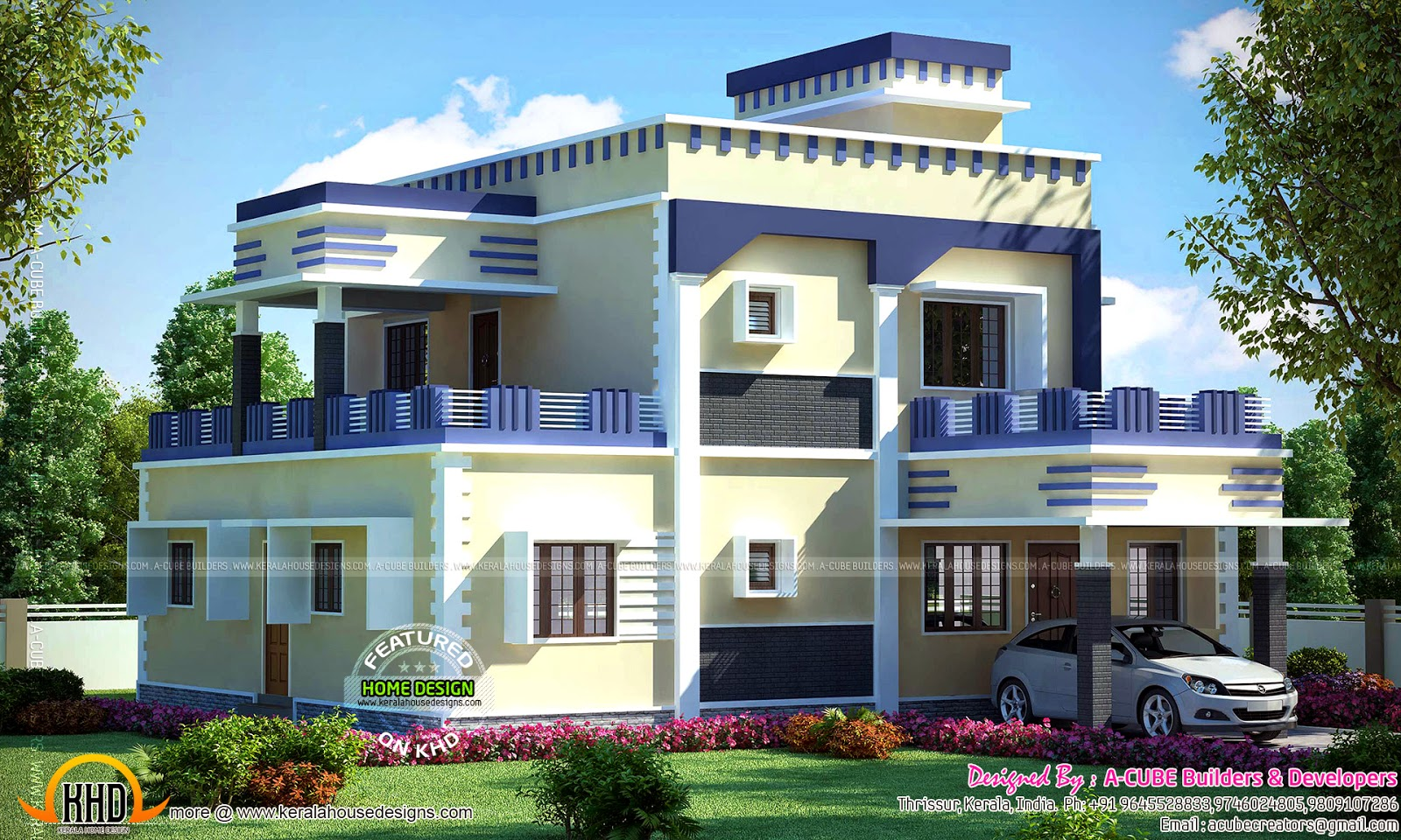 Flat Roof House Decorative Elements Kerala Home Design And Floor Plans