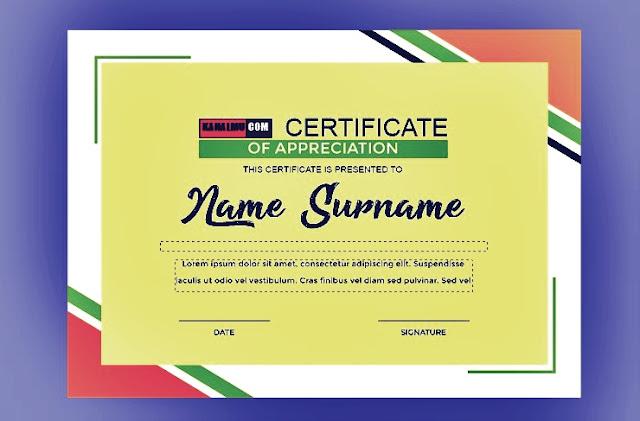 Template sertifikat & piagam penghargaan atas prestasi, juara