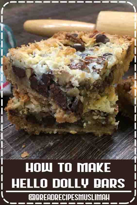 Hello Dolly Bars are one of the best dessert recipes. They are easy to make and are a delicious treat with chocolate chips, coconut, Eagle Brand Sweetened Condensed Milk, pecans, and graham crackers. #sweet #bread #recipes #desserts #chocolate #chips