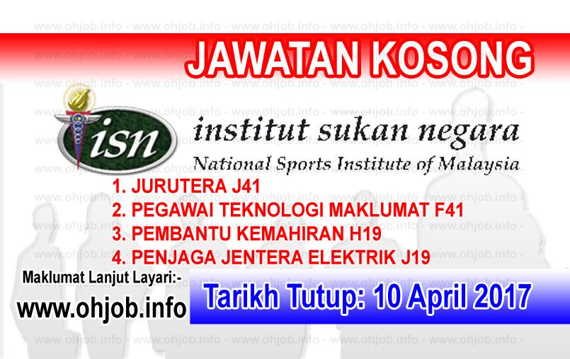 Jawatan Kerja Kosong ISN - Institut Sukan Negara logo www.ohjob.info april 2017