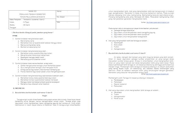 Soal PTS/UTS Kelas 3 SD/MI: Tema 6 Subtema 1-2