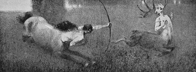 Franz von Stuck, a centaur kills a deer man