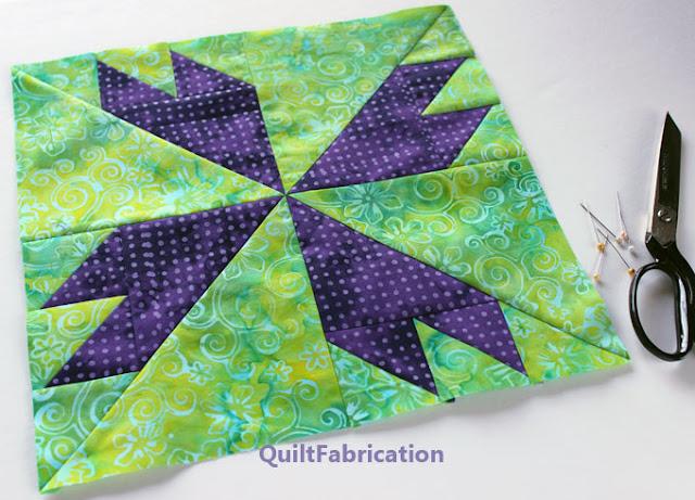 green and purple batik quilt block 1273