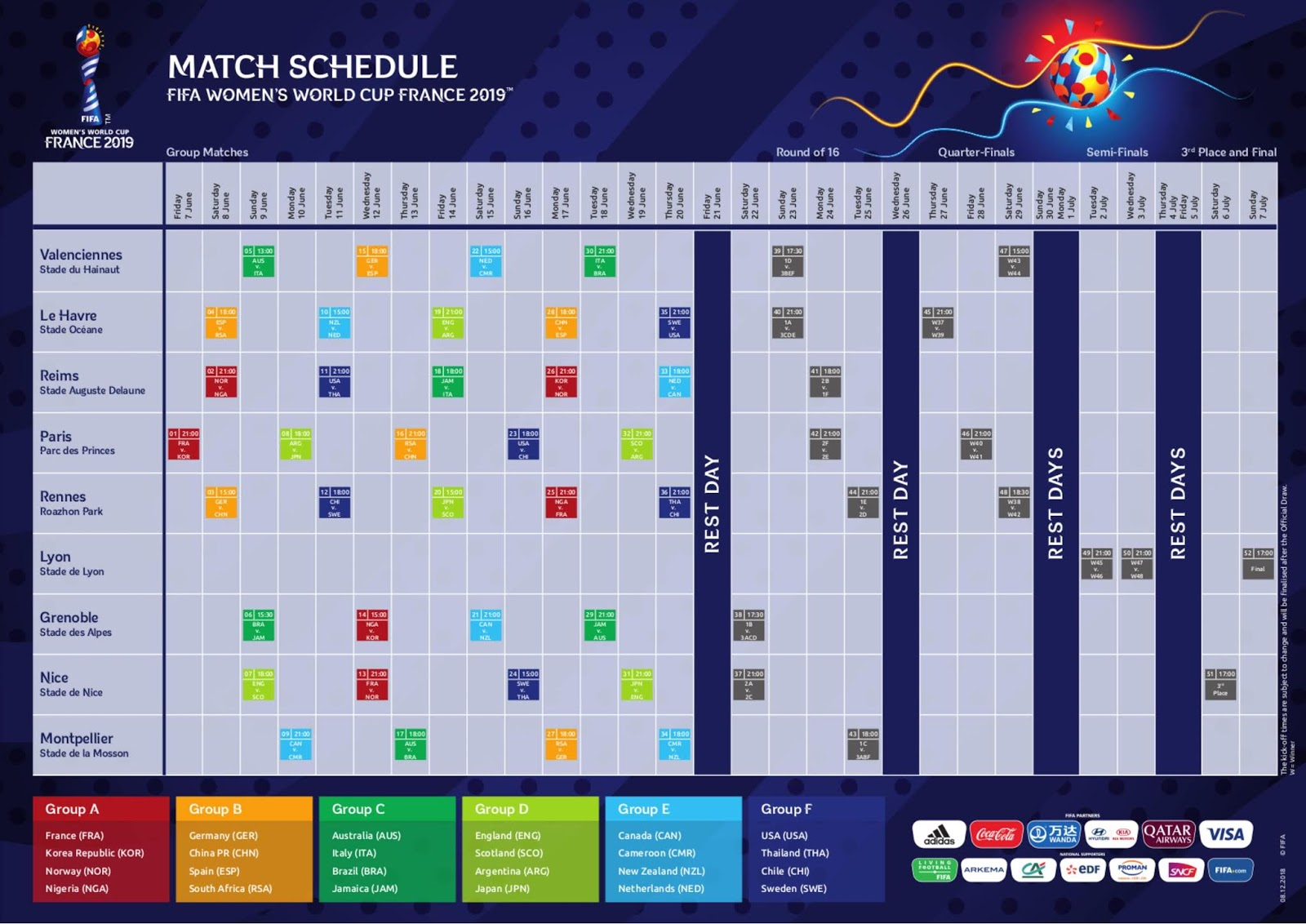 image relating to Women's World Cup Schedule Printable called Printable FIFA Womens Earth Cup 2019 Agenda PDF - Copa