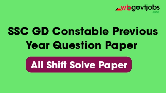 SSC GD Constable Previous Year Question Paper PDF In English