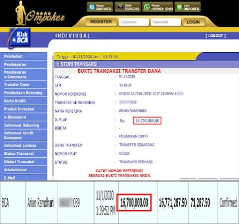 Selamat Kepada Member Setia Ompoker WD Rp 16.700.000,-