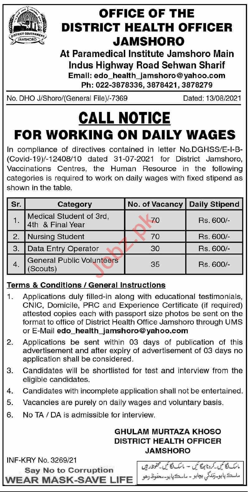 District Health Office DHO Jobs 2021, Corona Vaccination Centre CVC, Government of the Sindh